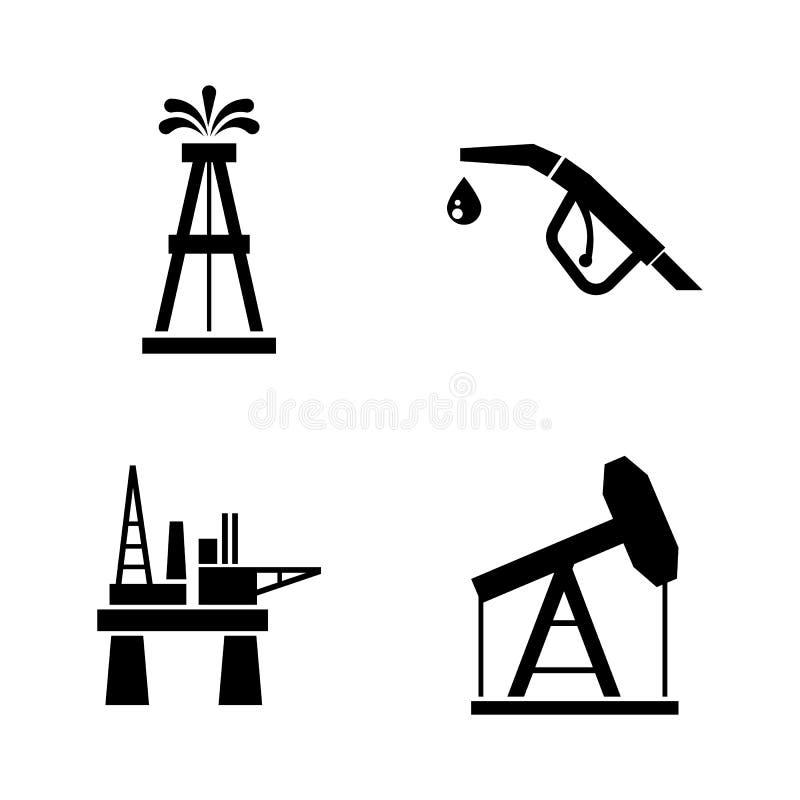 Trummaoljeproduktion Enkla släkta vektorsymboler royaltyfri illustrationer