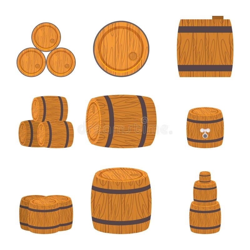 trummor ställde in trä vektor illustrationer