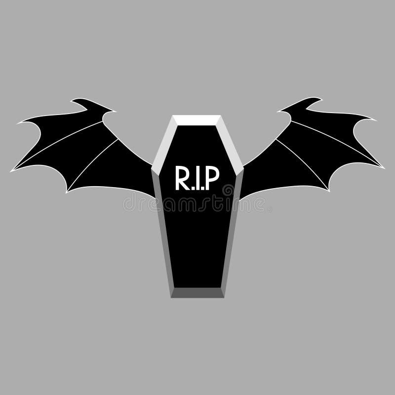 Trumna z Czarnym zmrokiem Uskrzydla dla twój projekta, gra, karta Czarny dekiel Halloweenowi elementy również zwrócić corel ilust ilustracja wektor