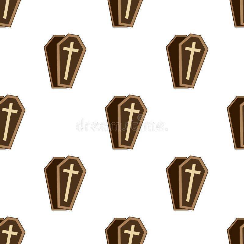Trumny lub szkatuły Płaskiej ikony Bezszwowy wzór royalty ilustracja