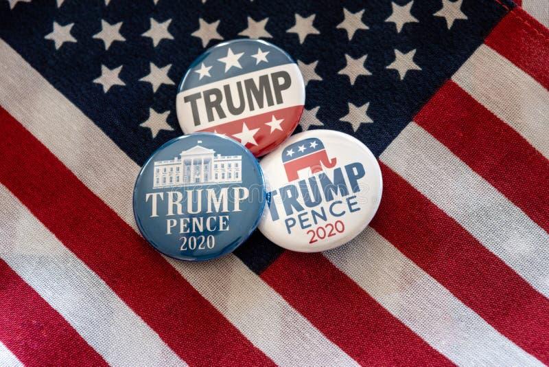 Trump 2020 badge pins and United States flag. royalty free illustration
