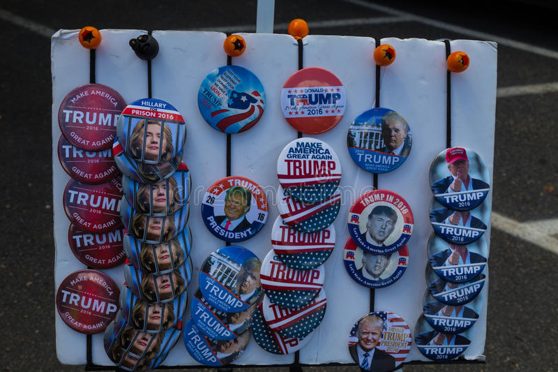 Trump Campaign Buttons For Sale. Lancaster, PA - August 9, 2016: Campaign buttons for sale at a rally during GOP Vice Presidential candidate Gov. Mike Pence royalty free stock image