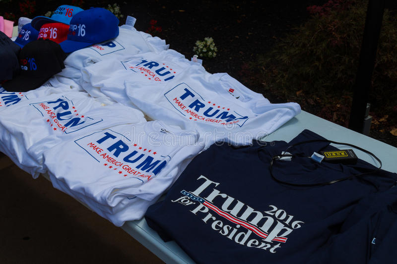 Trump Campaign Tee Shirts. Lancaster, PA - August 9, 2016: Tee Shirts for sale at a rally during GOP Vice Presidential candidate Gov. Mike Pence appearance in royalty free stock photo