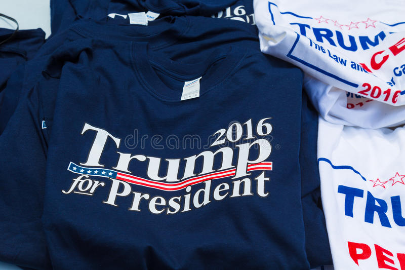 Trump Campaign Tee Shirts For Sale. Lancaster, PA - August 9, 2016: Tee Shirts for sale at a rally during GOP Vice Presidential candidate Gov. Mike Pence royalty free stock photography