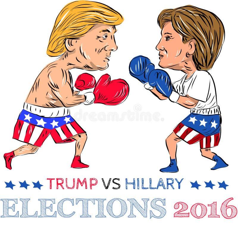 Trump contro pugilato 2016 di elezione di Hillary