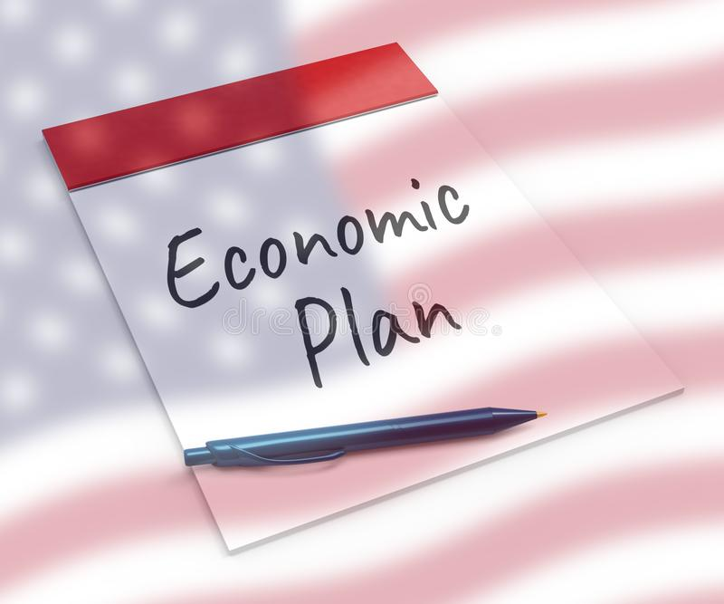 Trump Economics Plan Strategy For Us Growth - 3d Illustration. Trump Economics Plan Strategy For Us Growth. Stock Market Financial Income Or Recession And Debt stock illustration