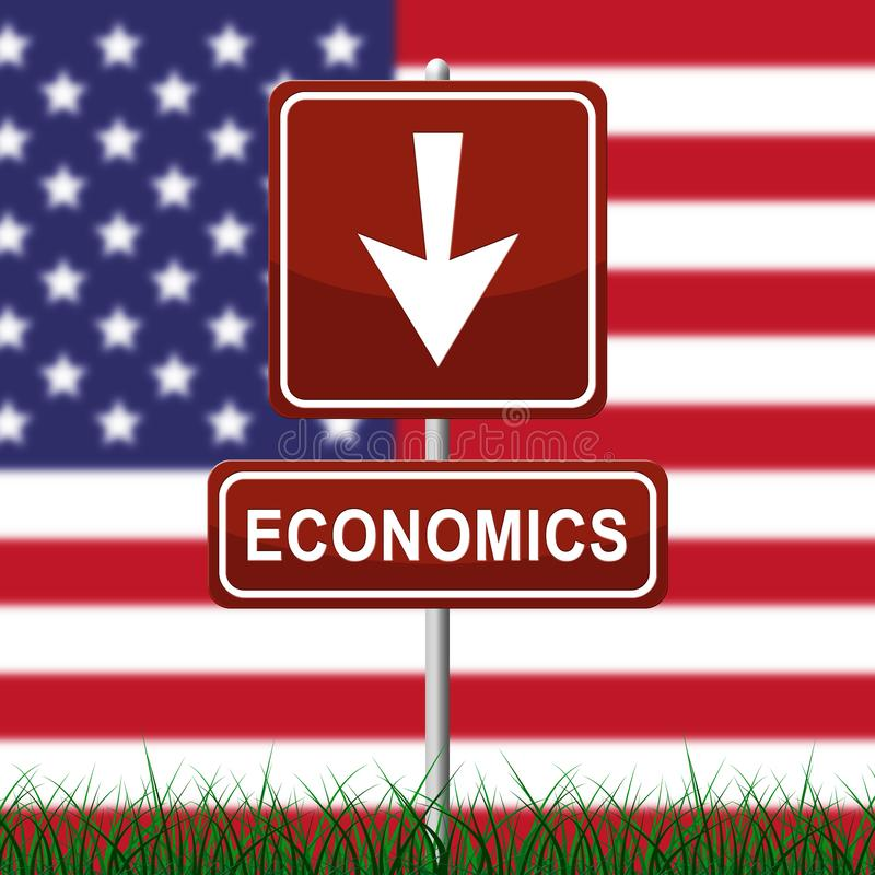Trump Economics Plan Strategy For Usa Growth - 3d Illustration. Trump Economics Plan Strategy For Usa Growth. Stock Market Financial Income Or Recession And Debt royalty free illustration