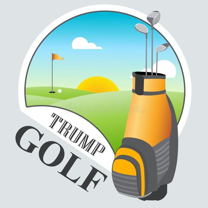 Trump Golf Course Or Club Professional Tournament Or Leisure - 2d Illustration. Trump Golf Course Or Club Professional Tournament Or Leisure. Usa Political vector illustration