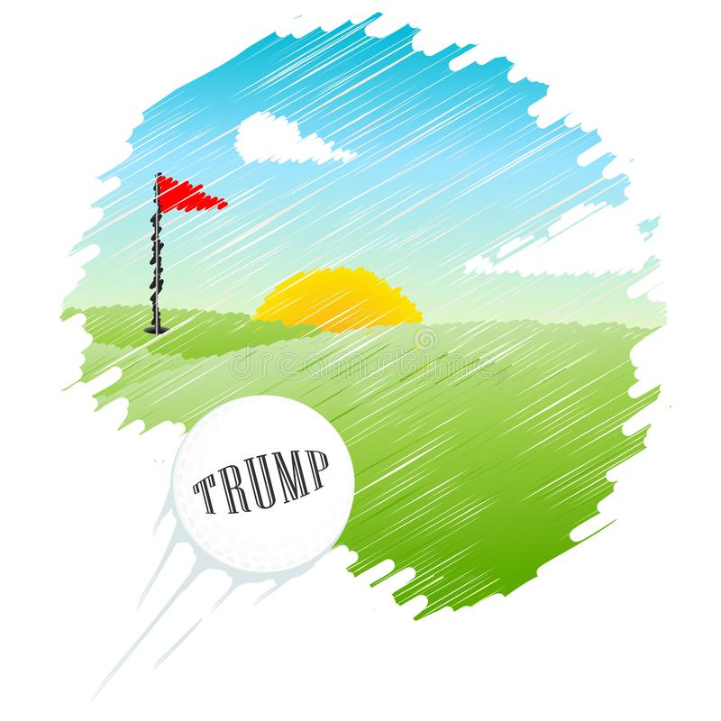 Trump Golf Course Or Club Professional Tournament Or Leisure - 2d Illustration. Trump Golf Course Or Club Professional Tournament Or Leisure. Usa Political royalty free illustration