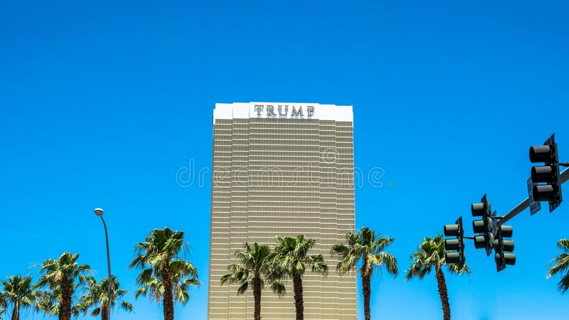 Trump International Hotel Las Vegas. Skyscraper against the sky and palm trees stock image