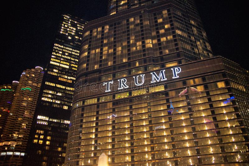 Trump Hotel Chicago, IL. Trump International Hotel & Tower Chicago is a downtown Chicago hotel located near the Magnificent Mile, overlooking the Chicago River stock photography