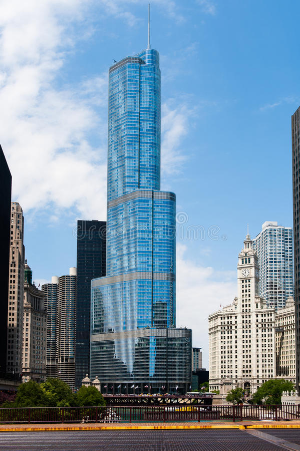Trump International Tower and other buildings in Chicago. CHICAGO, IL - JULY 7: Trump International Tower and other buildings in Chicago, IL, shown in this river royalty free stock photos