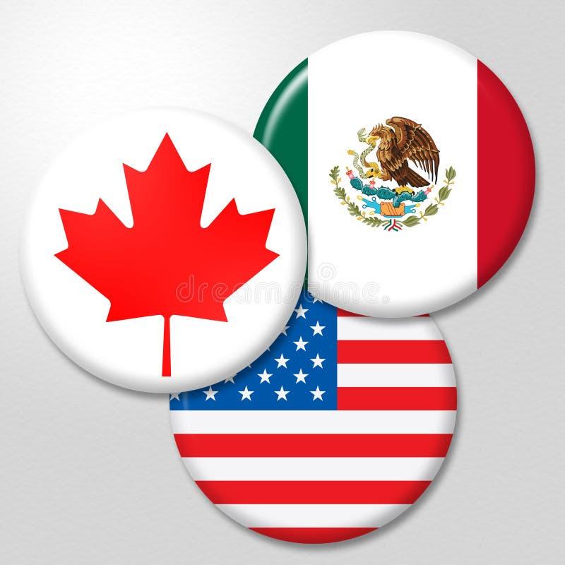 Trump Nafta Badges - Negotiation Deal With Canada And Mexico - 3d Illustration. Trump Nafta Badges - Negotiation Deal With Canada And Mexico. Treaty Or Agreement stock illustration