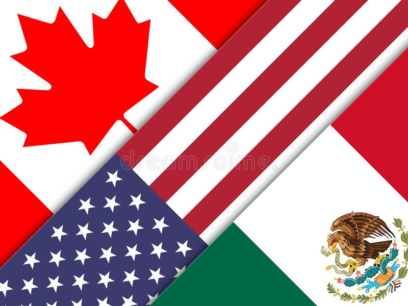 Trump Nafta Flags - Negotiation Deal With Canada And Mexico - 2d Illustration. Trump Nafta Flags - Negotiation Deal With Canada And Mexico. Treaty Or Agreement stock illustration