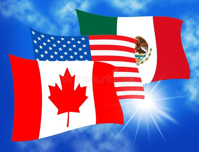Trump Nafta Negotiate Deal With Canada And Mexico - 3d Illustration. Trump Nafta Negotiate Deal With Canada And Mexico. Treaty Or Agreement For Border Economics vector illustration