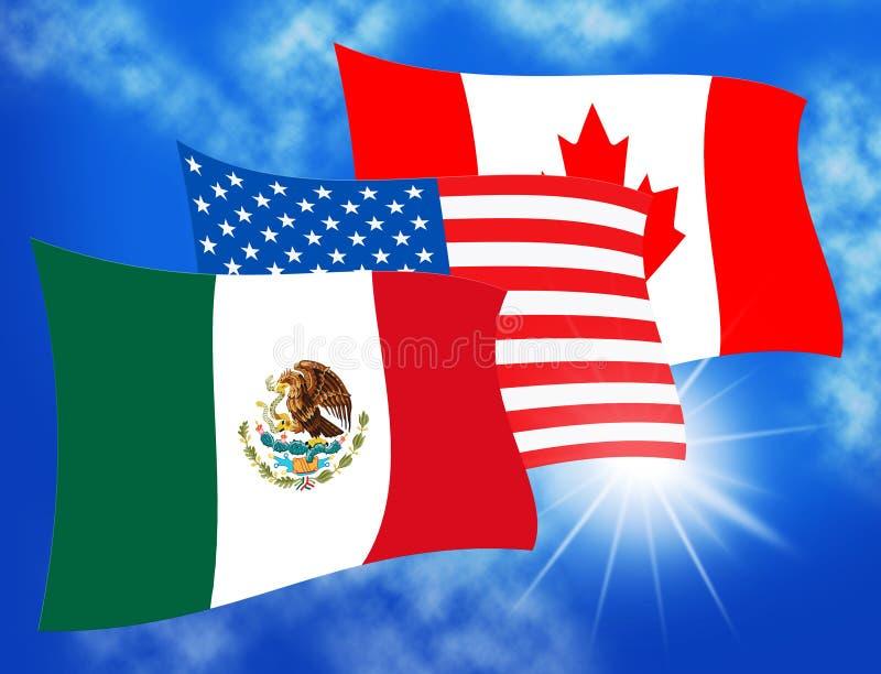 Trump Nafta Negotiate Deal With Canada And Mexico - 3d Illustration. Trump Nafta Negotiate Deal With Canada And Mexico. Treaty Or Agreement For Border Economics stock illustration