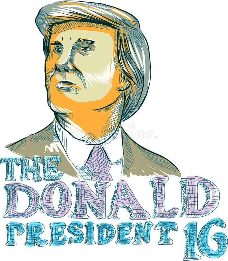 Trump President 2016 Drawing vector illustration
