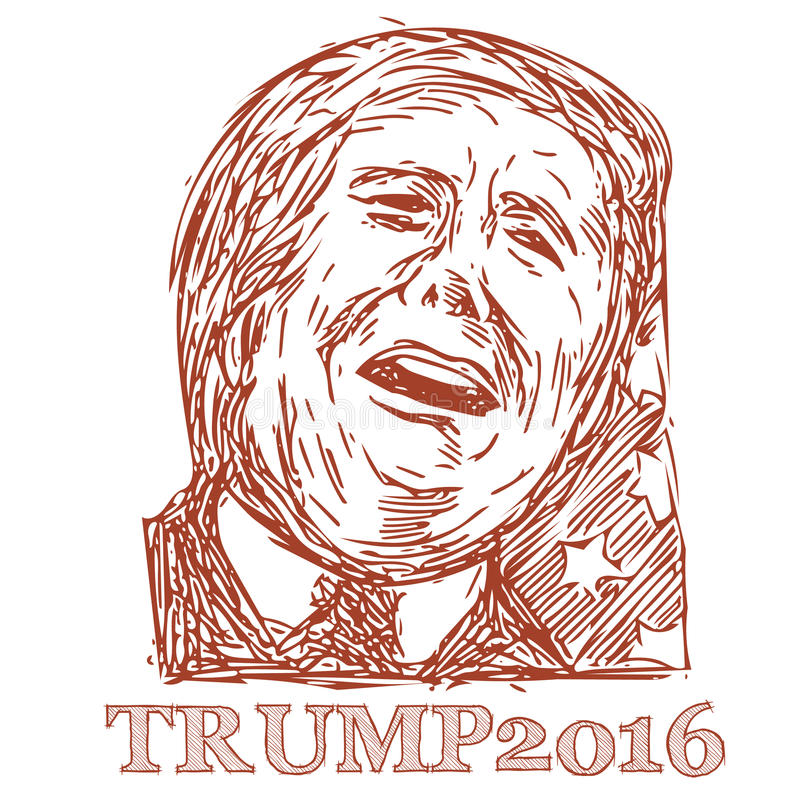Trump 2016 President. Illustration showing Republican Party presidential president 2016 candidate Donald John Trump on isolated white background done in sketch royalty free illustration