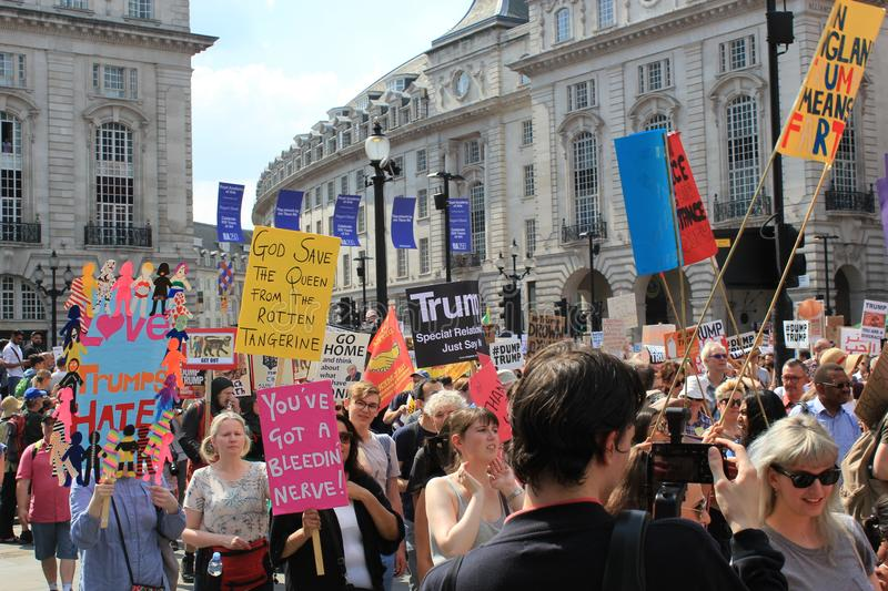 Trump Protest march London, July 13, 2018 : anti-Donald Trump placards stock, photo, photograph, image, picture. Trump Protest, London, July 13, 2018 : Donald royalty free stock photos