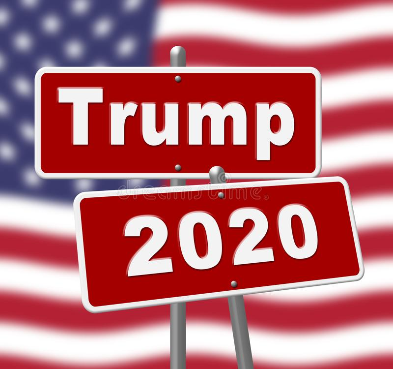 Trump 2020 Republican Candidate For President Nomination - 2d Illustration. Trump 2020 Republican Candidate For President Nomination. United States Voting For royalty free illustration