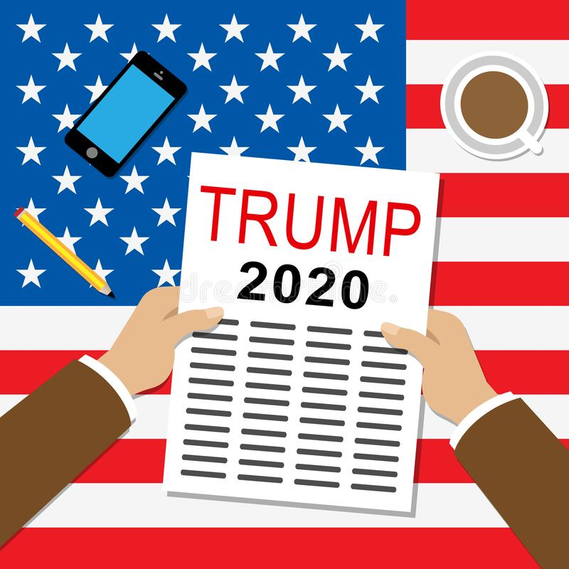 Trump 2020 Republican Candidate For President Nomination - 2d Illustration. Trump 2020 Republican Candidate For President Nomination. United States Voting For vector illustration