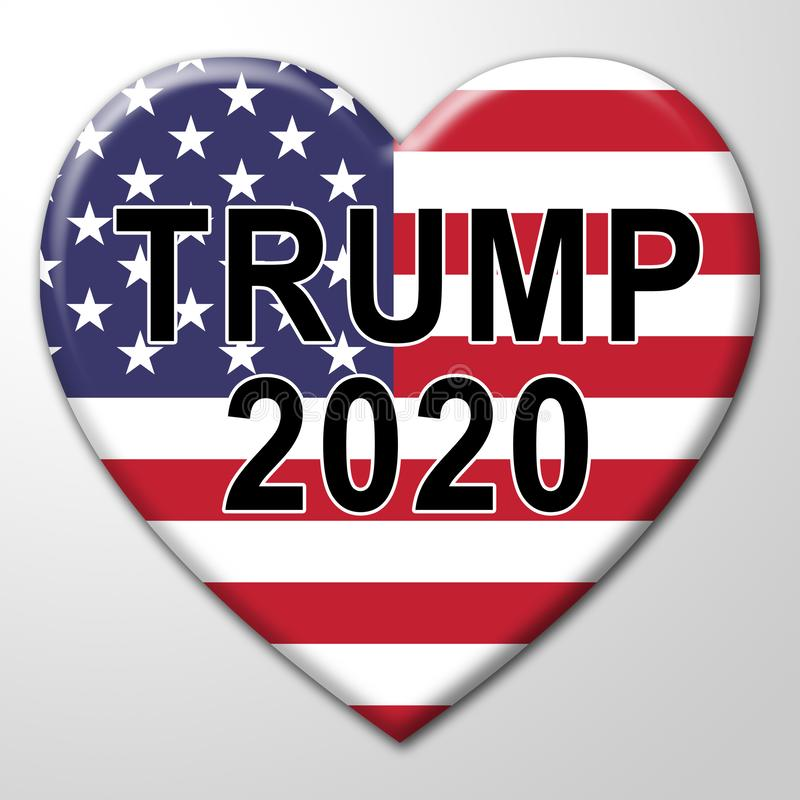 Trump 2020 Republican Candidate For President Nomination - 3d Illustration. Trump 2020 Republican Candidate For President Nomination. United States Voting For royalty free illustration