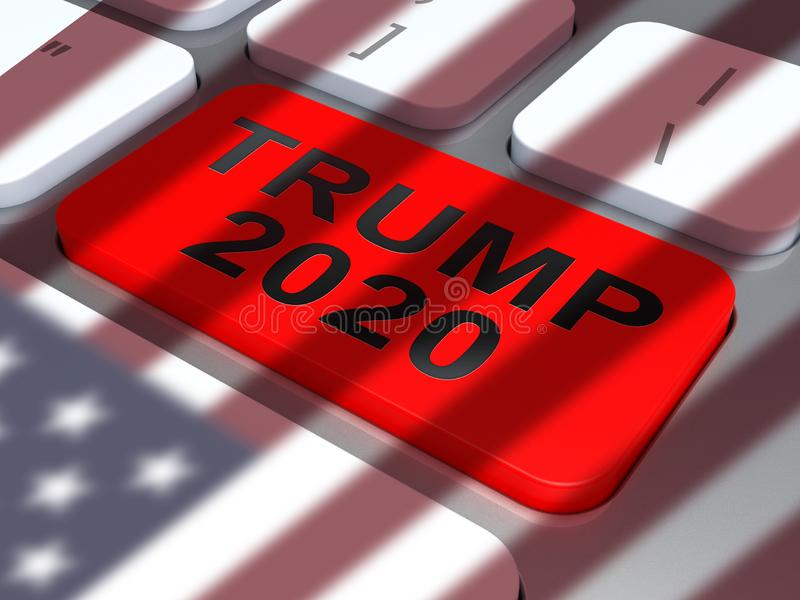 Trump 2020 Republican Candidate For Presidential Nomination - 3d Illustration. Trump 2020 Republican Candidate For Presidential Nomination. United States Voting stock illustration