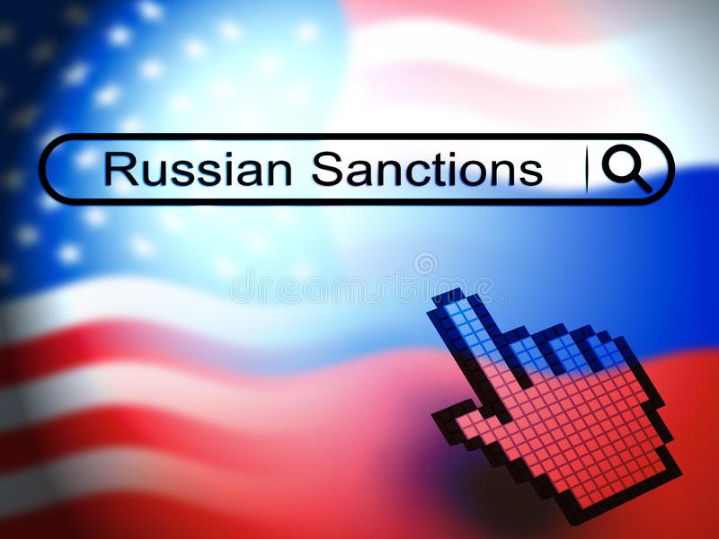 Trump Russia Sanctions Banking Embargo On Russian Federation - 3d Illustration. Trump Russia Sanctions Banking Embargo On Russian Federation. Putin Trade And vector illustration