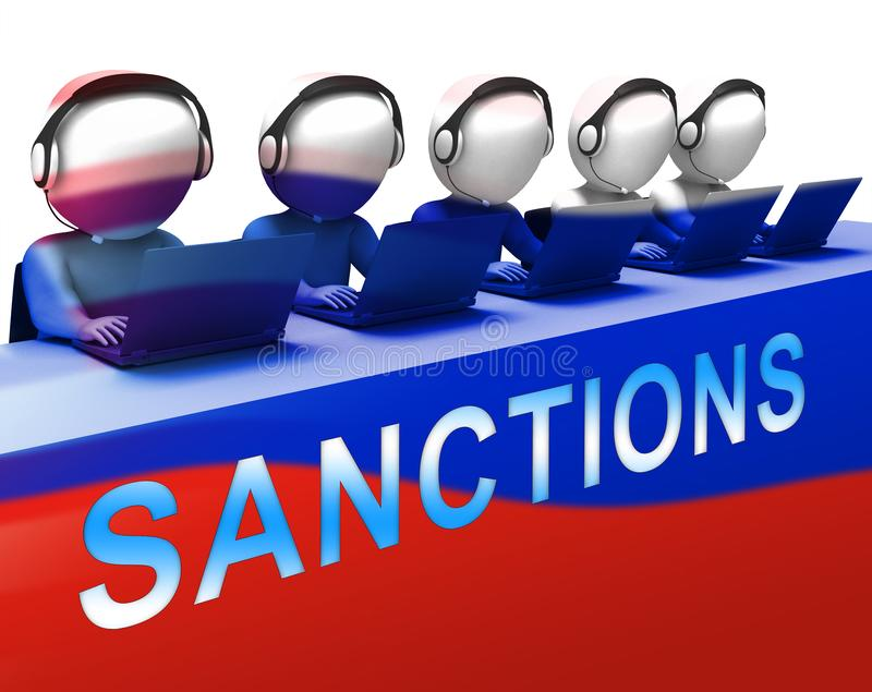Trump Russia Sanctions Financial Embargo On Russian Federation - 3d Illustration. Trump Russia Sanctions Financial Embargo On Russian Federation. Putin Trade And royalty free illustration