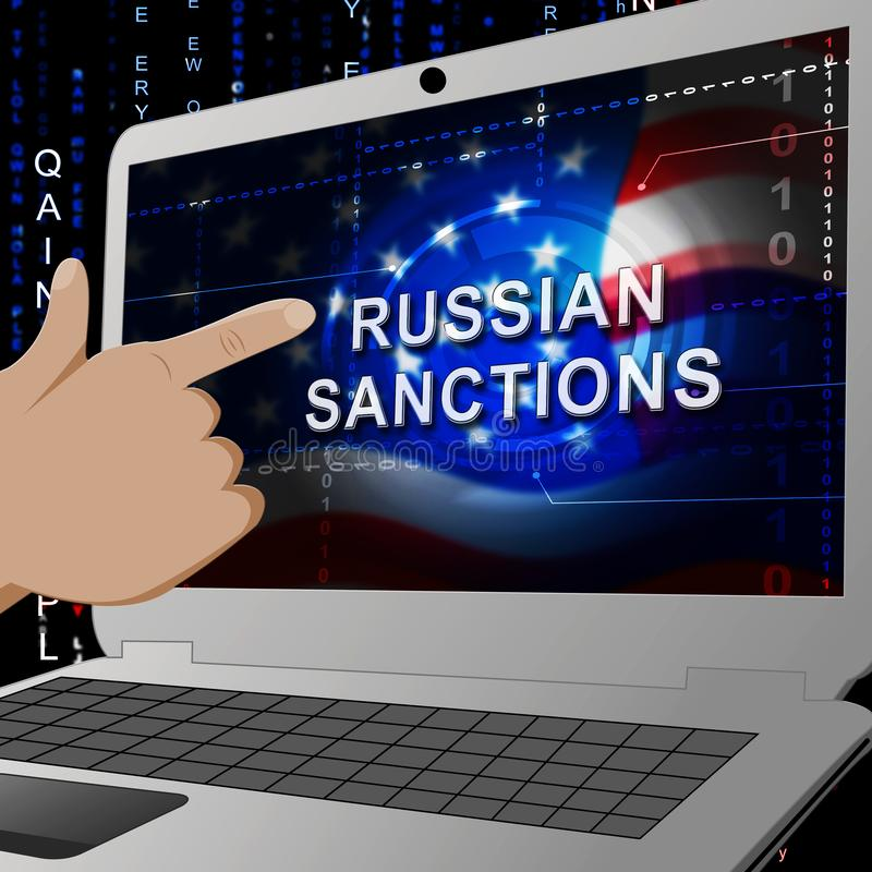 Trump Russia Sanctions Financial Embargo On Russian Federation - 3d Illustration. Trump Russia Sanctions Financial Embargo On Russian Federation. Putin Trade And stock illustration