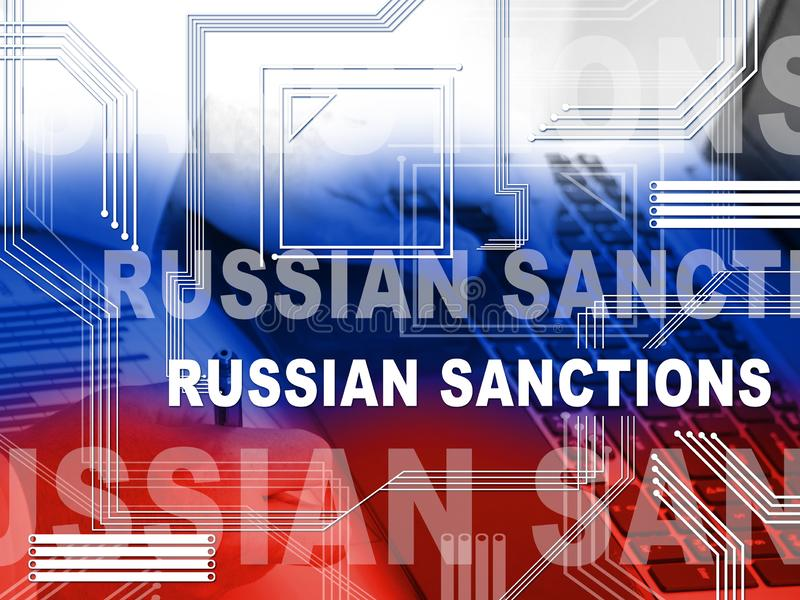 Trump Russia Sanctions Monetary Embargo On Russian Federation - 2d Illustration. Trump Russia Sanctions Monetary Embargo On Russian Federation. Putin Trade And vector illustration