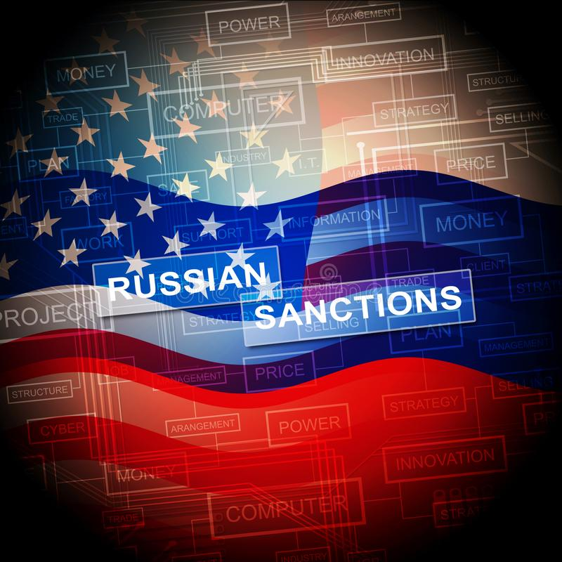 Trump Russia Sanctions Monetary Embargo On Russian Federation - 2d Illustration. Trump Russia Sanctions Monetary Embargo On Russian Federation. Putin Trade And royalty free illustration