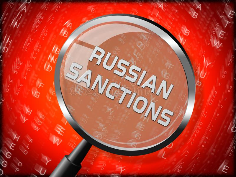 Trump Russia Sanctions Monetary Embargo On Russian Federation - 3d Illustration. Trump Russia Sanctions Monetary Embargo On Russian Federation. Putin Trade And stock illustration