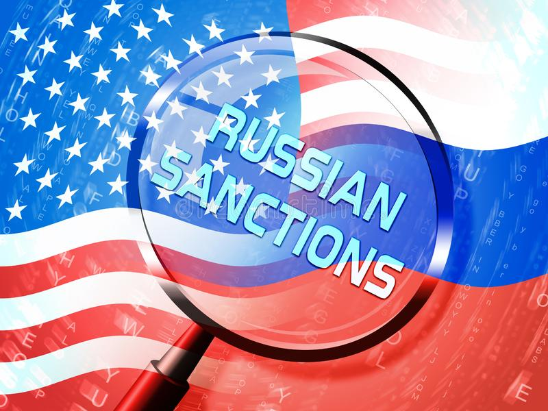 Trump Russia Sanctions Monetary Embargo On Russian Federation - 3d Illustration. Trump Russia Sanctions Monetary Embargo On Russian Federation. Putin Trade And vector illustration