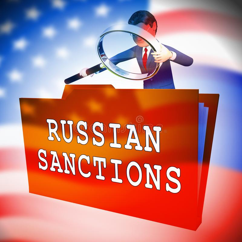 Trump Russia Sanctions Monetary Embargo On The Russian Federation - 3d Illustration. Trump Russia Sanctions Monetary Embargo On The Russian Federation. Putin royalty free illustration