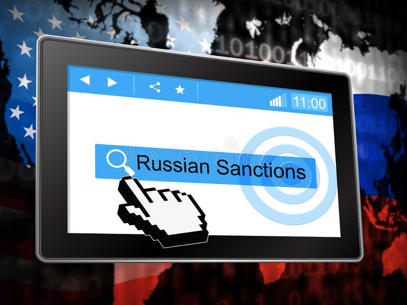 Trump Russia Sanctions Political Embargo On Russian Federation - 3d Illustration. Trump Russia Sanctions Political Embargo On Russian Federation. Putin Trade And vector illustration