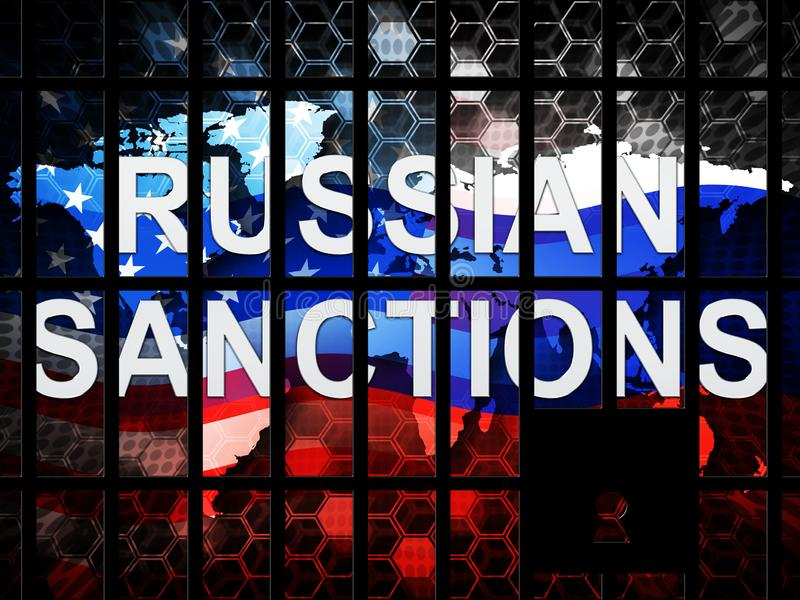 Trump Russia Sanctions Political Embargo On Russian Federation - 3d Illustration. Trump Russia Sanctions Political Embargo On Russian Federation. Putin Trade And royalty free illustration