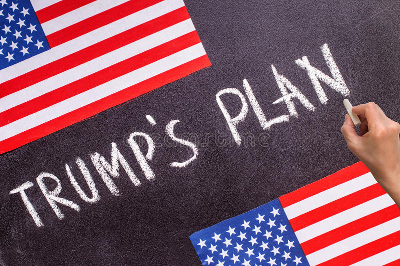 Trump`s Plan on the chalk board and US flag royalty free stock photography