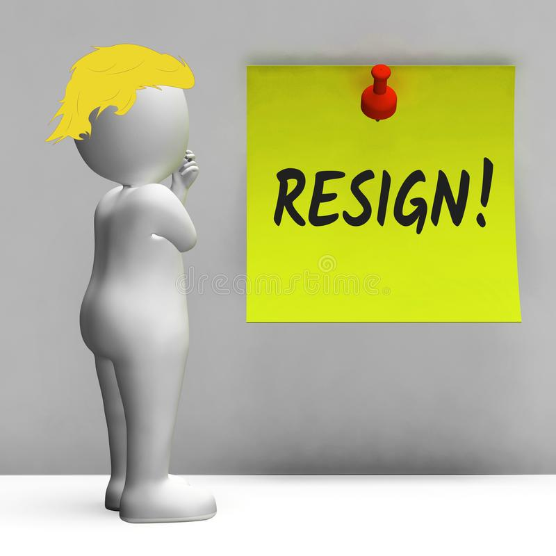 Trump si dimette i mezzi del segno smessi o la rassegnazione dal governo o da presidente di lavoro illustrazione di stock