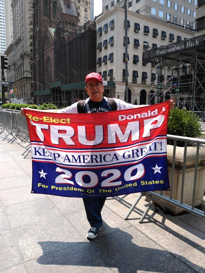 Trump Supporter, Keep America Great, 2020 Presidential Election, NYC, NY, USA. Proud supporter of President Donald Trump parading in front of Trump Tower on royalty free stock photography