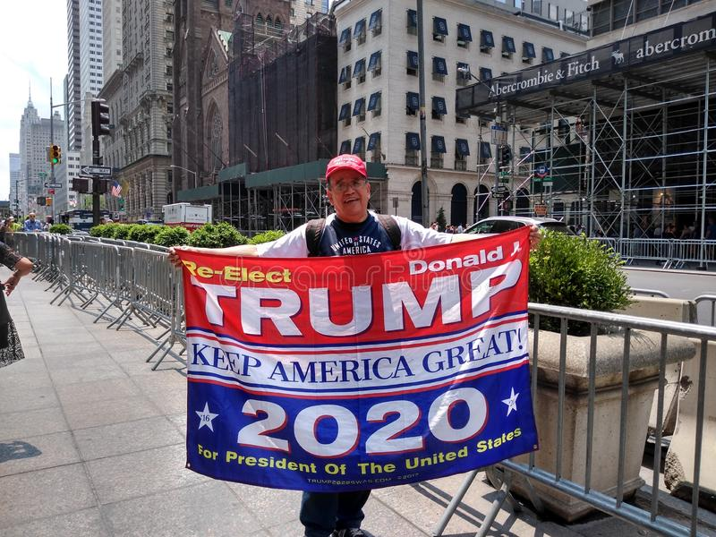 Trump Supporter, Keep America Great, 2020 Presidential Election, NYC, NY, USA. Proud supporter of President Donald Trump parading in front of Trump Tower on stock image