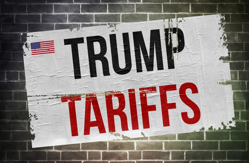 Trump Tariffs - poster sign stock image