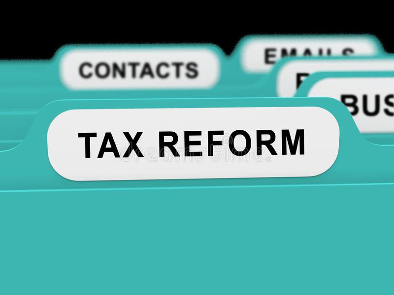 Trump Tax Reform To Change Taxation System In Usa - 3d Illustration. Trump Tax Reform To Change Taxation System In Usa. GOP Or Republican Finance Policy Changed stock illustration
