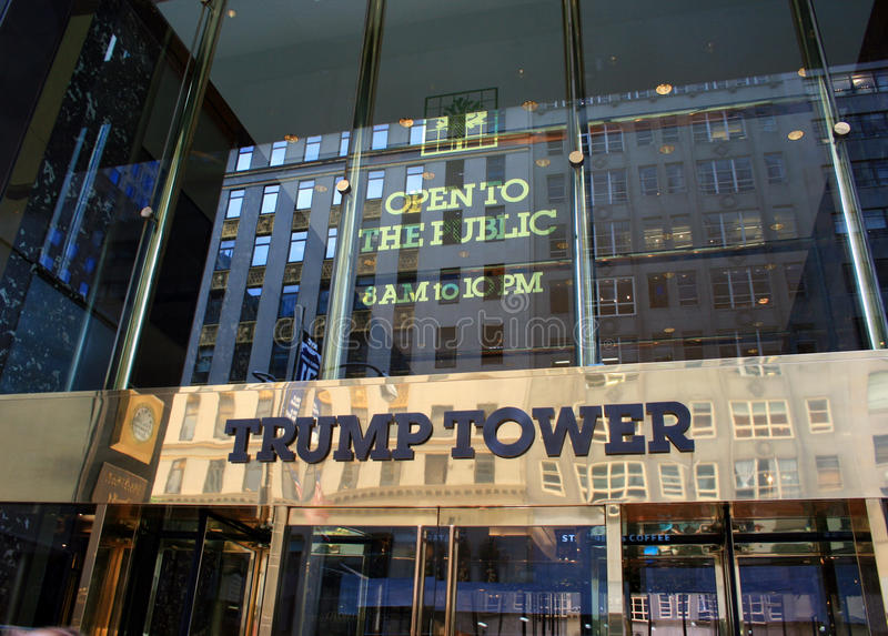 Trump Tower. A shot of the entrance to the Trump Tower in New York City stock photo