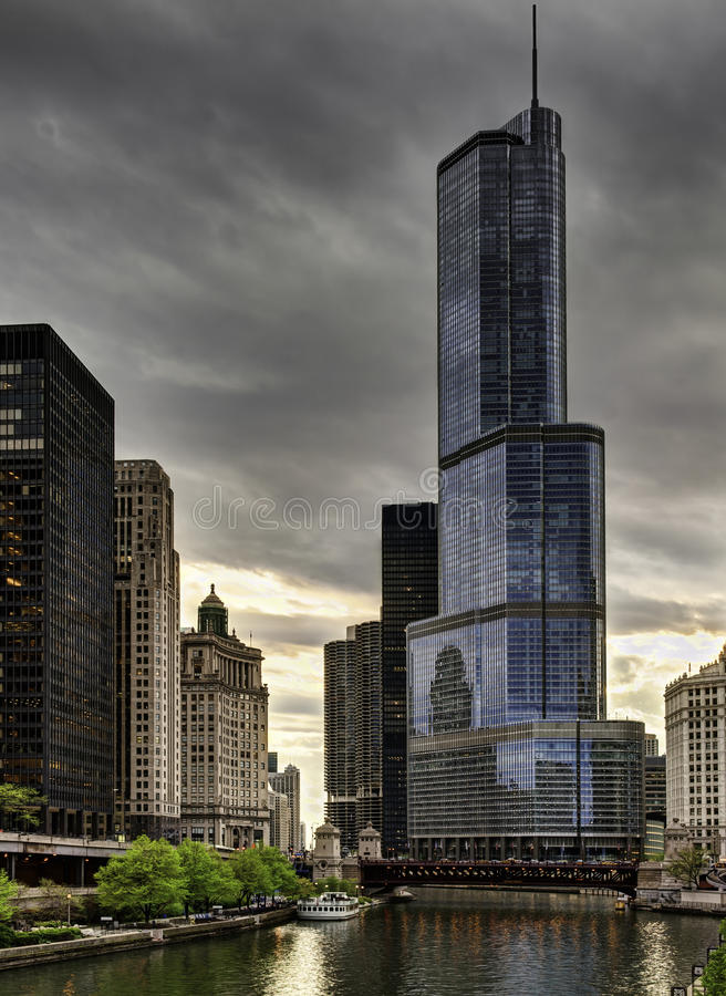 Trump Tower. In Chicago at sunset royalty free stock photography