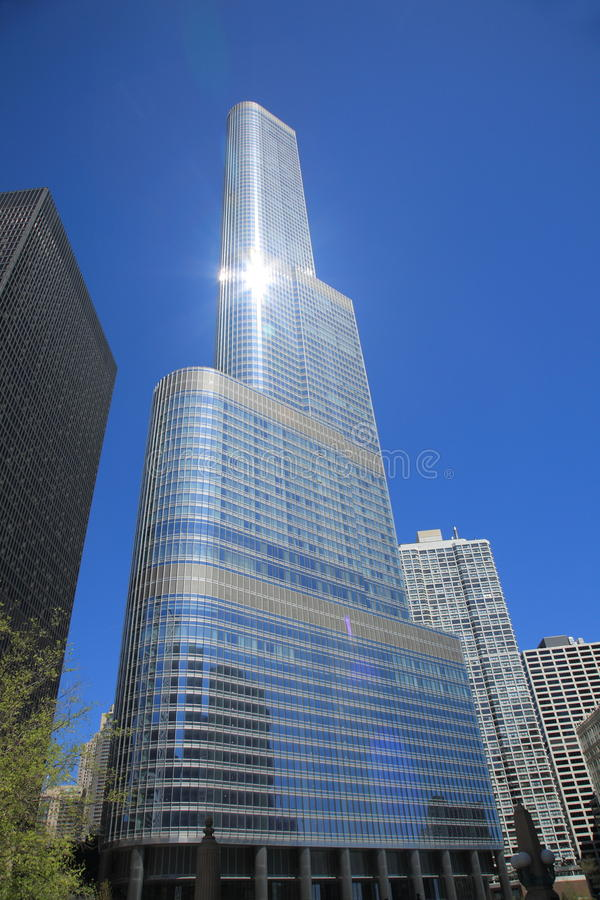 Trump Tower - Chicago. Trump International Hotel and Tower, with sunlight reflections, in the Chicago skyline royalty free stock images