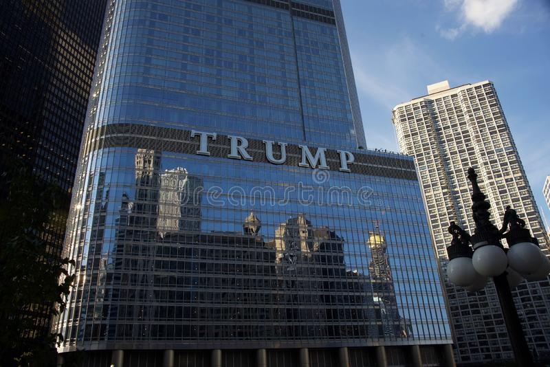 Trump Hotel Downtown Chicago, IL. Trump Tower Chicago is a downtown Chicago hotel located near the Magnificent Mile, overlooking the Chicago River. This 5 star royalty free stock photo