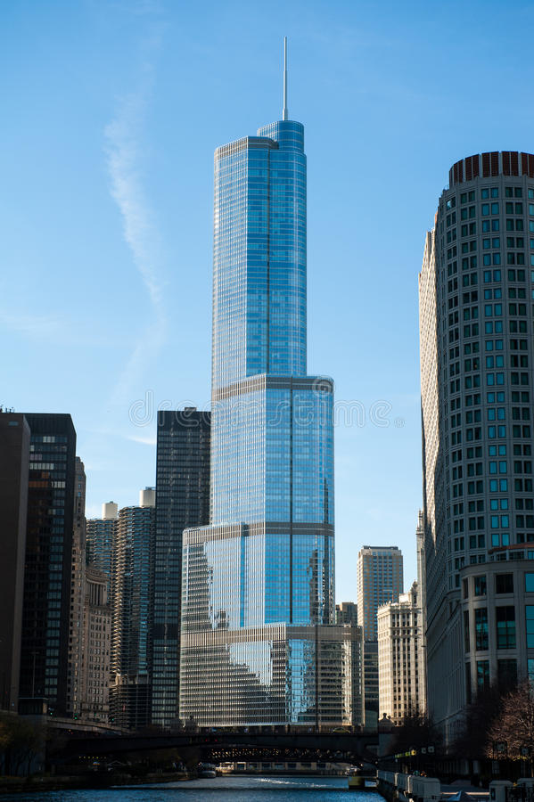 Trump Tower. CHICAGO, IL - NOVEMBER 13: View of the Trump International Hotel & Tower, the second tallest building in Chicago, Illinois, seen on November 13 stock images