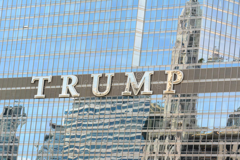 Trump Tower Chicago. CHICAGO, ILLINOIS - AUGUST 22, 2015: Trump Tower sign. The Trump International Hotel and Tower, aka Trump Tower, is a skyscraper condo-hotel stock photography