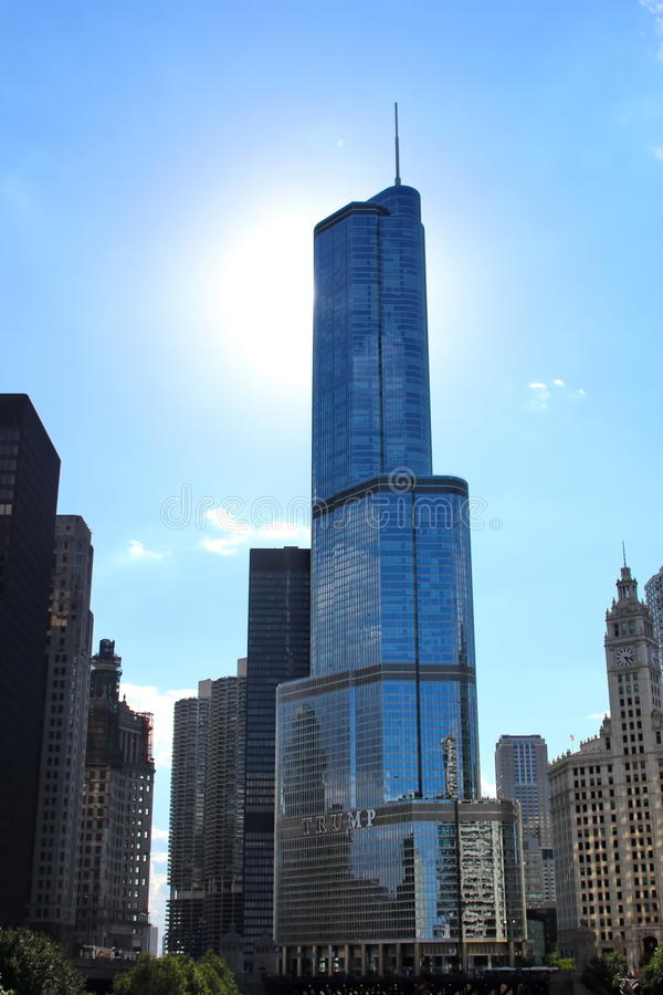 Trump tower Chicago. Trump international tower with the sun in his back stock photos
